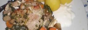 Skinkeschnitzel på spinatbund