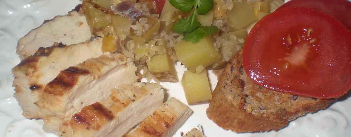 Kylling med kartoffelporrefad