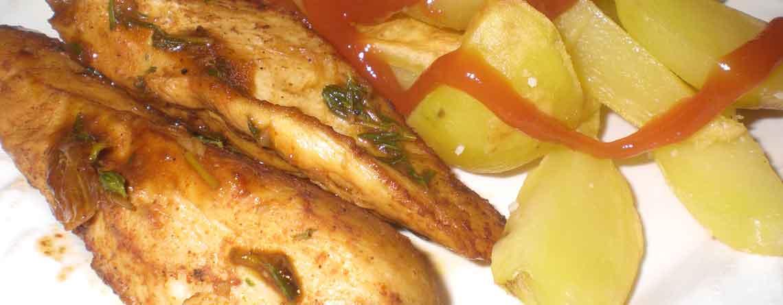 Kylling stegt i cognac med timian-hvidløgspasta