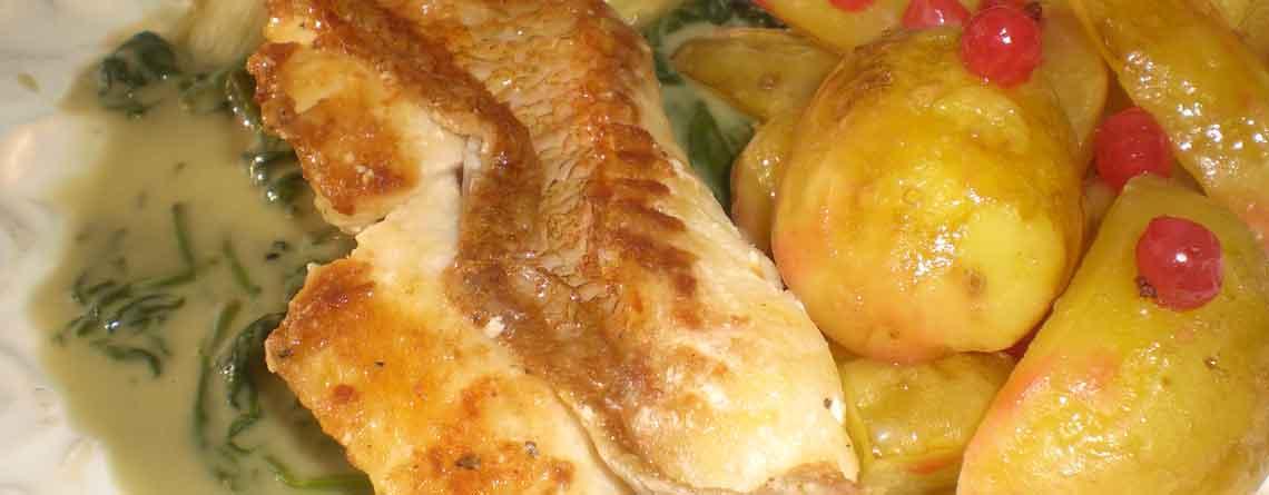 Skindtegt rødfisk med citrusribskartofler og spinatsauce