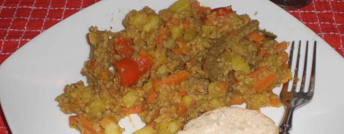 Wok med kartofler og bulgur