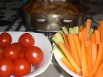 Servér med rå grøntsager.