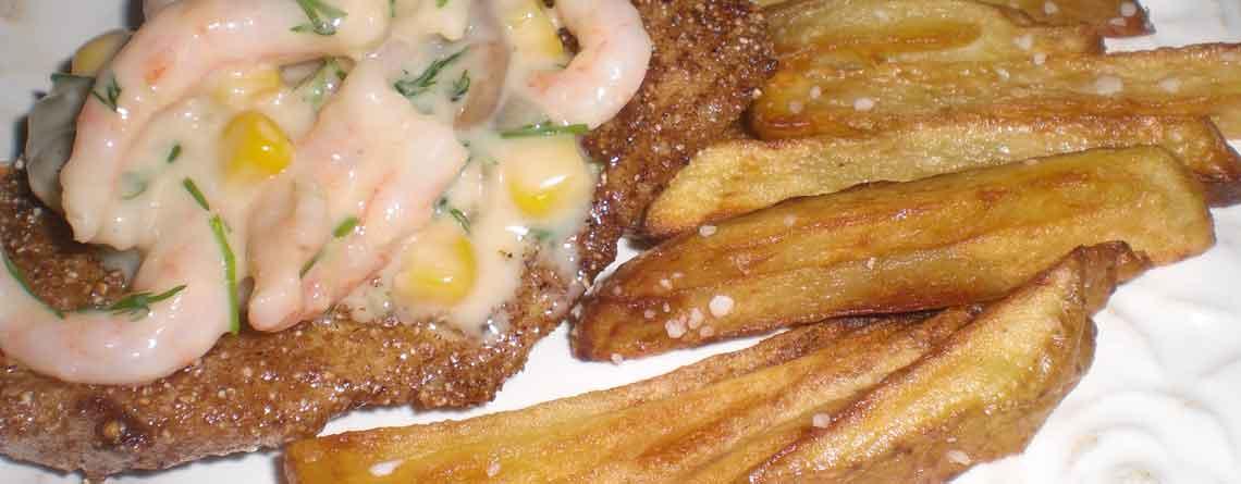 Rødspætte med svampefrikassé og hjemmegjorte pommes frites