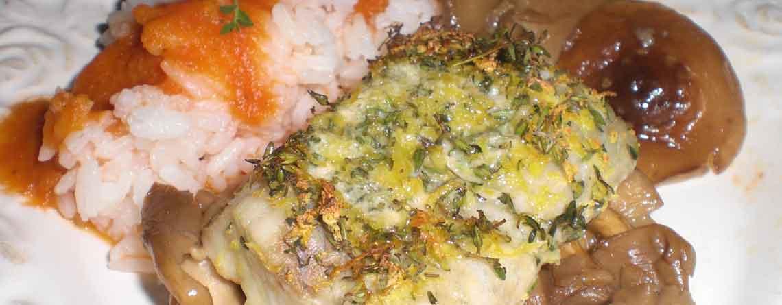 Filet royal af mørksej med timian/citrondrys og sauterede svampe