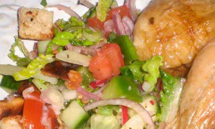Kylling i ovn med urter og fattoush salat