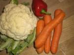 Klar gør grøntsagerne.