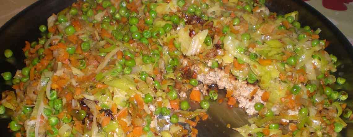 Farspandekage med smørdampede grøntsager
