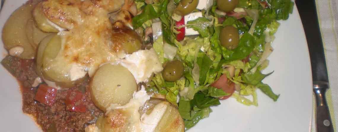 Oksefars med kartoffellåg