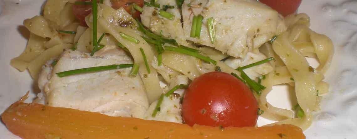 Sej med pesto og pasta