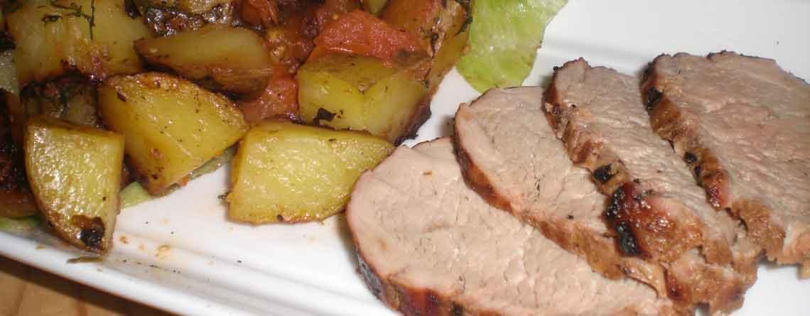 Grillet mørbrad og kartoffelmiks