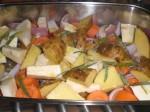 Sæt rodfrugterne i ovnen.
