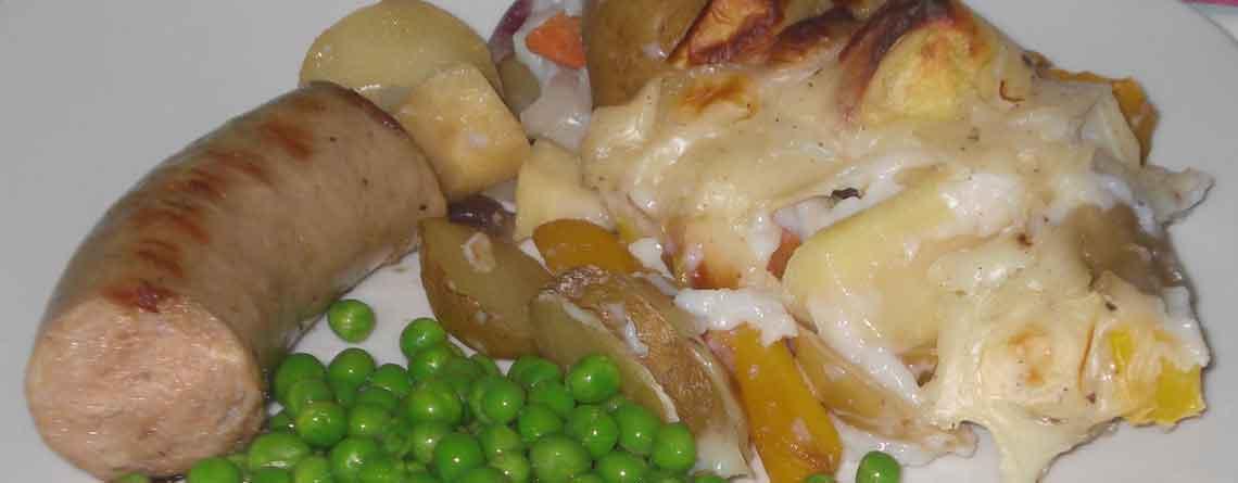 Medisterpølse med forlorne flødekartofler