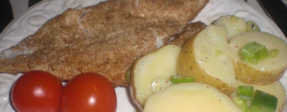 Marineret kartoffelsalat og stegt kuller