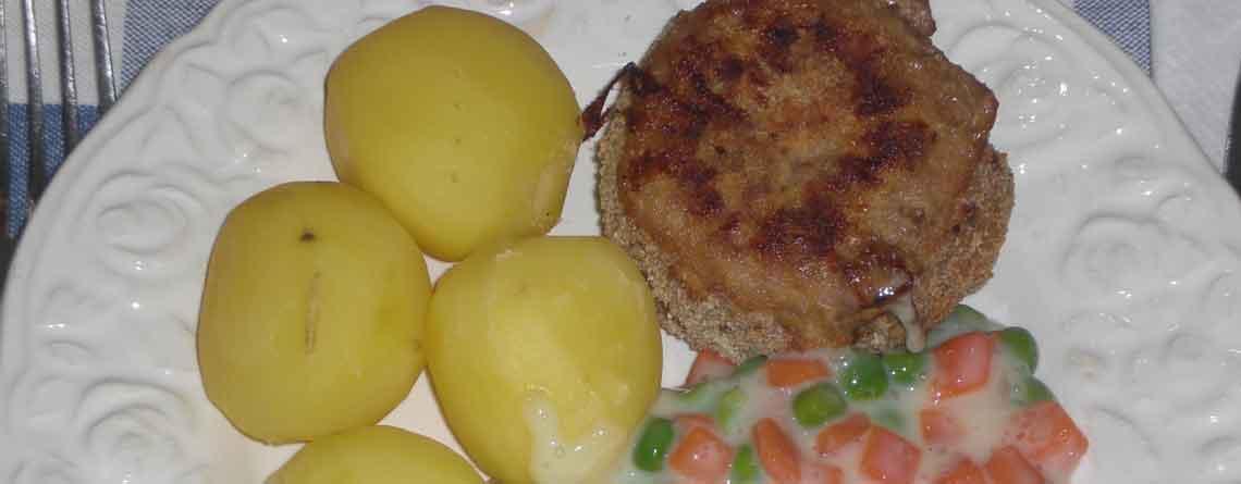 Krebinetter med stuvede grønærter