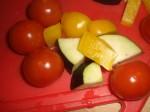 Tilbered grøntsagerne til spyddene.