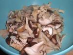 Skær svampene i mindre stykker.