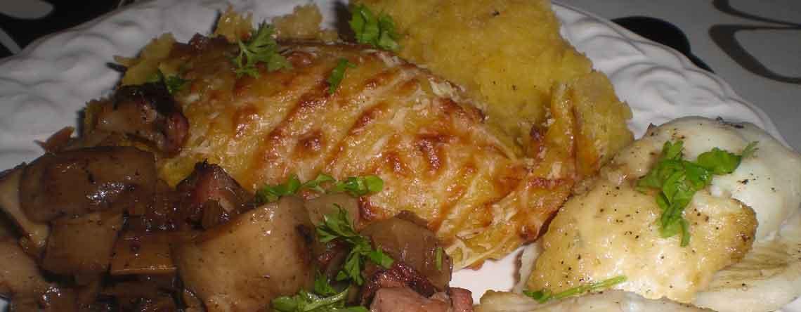 Isingruller med ristede champignoner og græskar-kartoffelmos