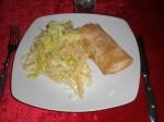 Servér med pasta.