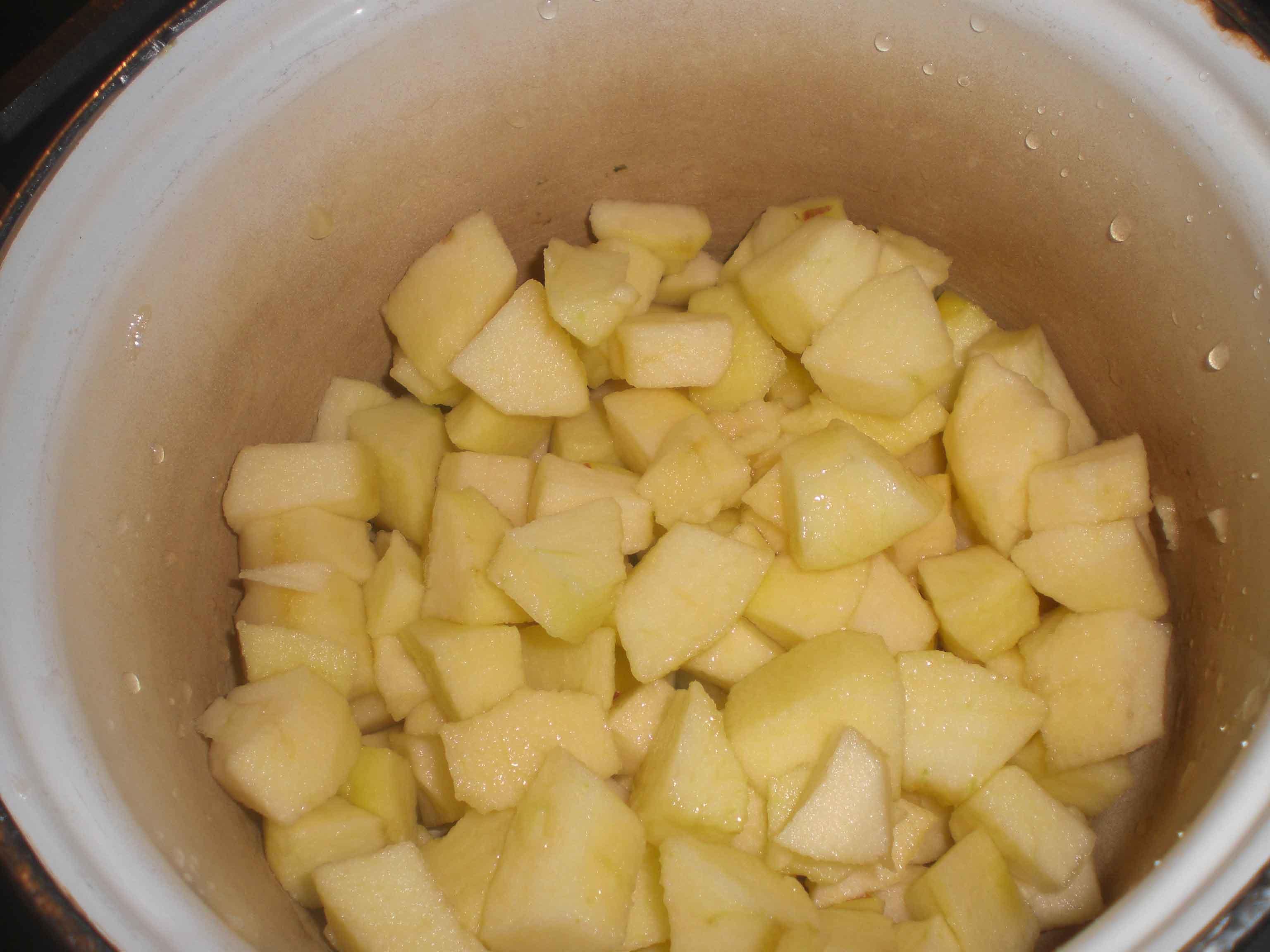 Læg de skyllede æbler i en kasserolle eller lille gryde.