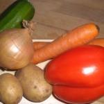 Klargør grøntsagerne ...
