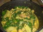 Lad spinat koge ned.
