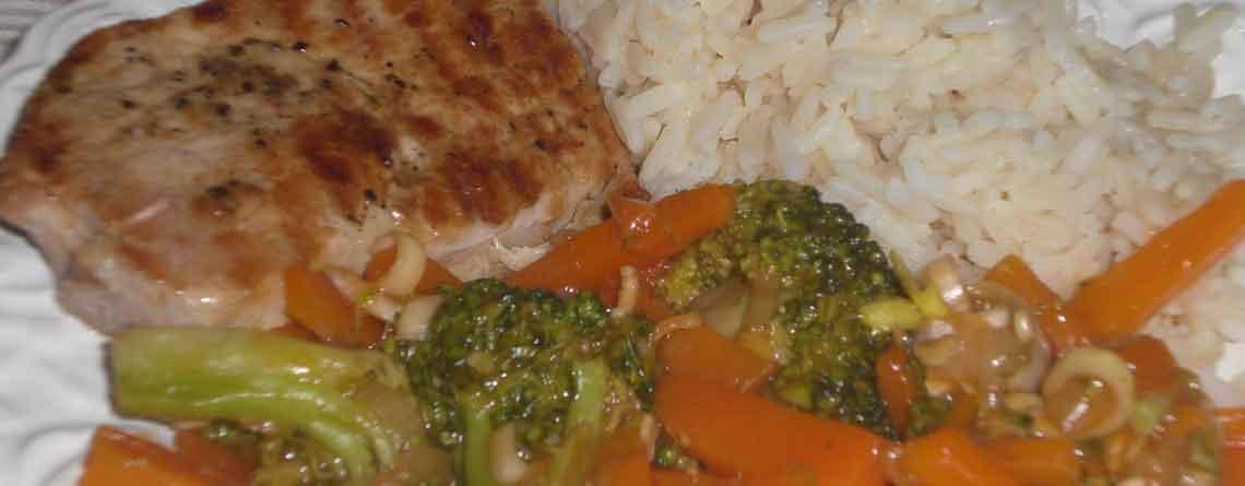 Schnitzler med svitsede grøntsager