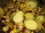 Bland kartofler, kidneybønner og kikærter.