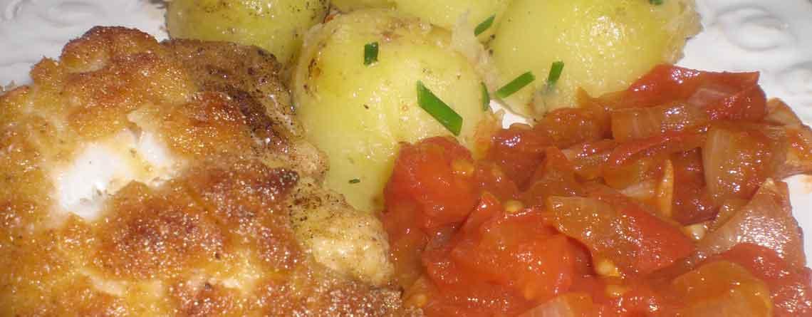 Majsmelspaneret lange med tomatkompot