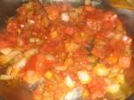 Tilbered tomatkompotten.