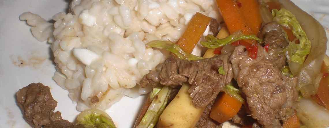 Asiatisk inspireret risotto og kalvewok