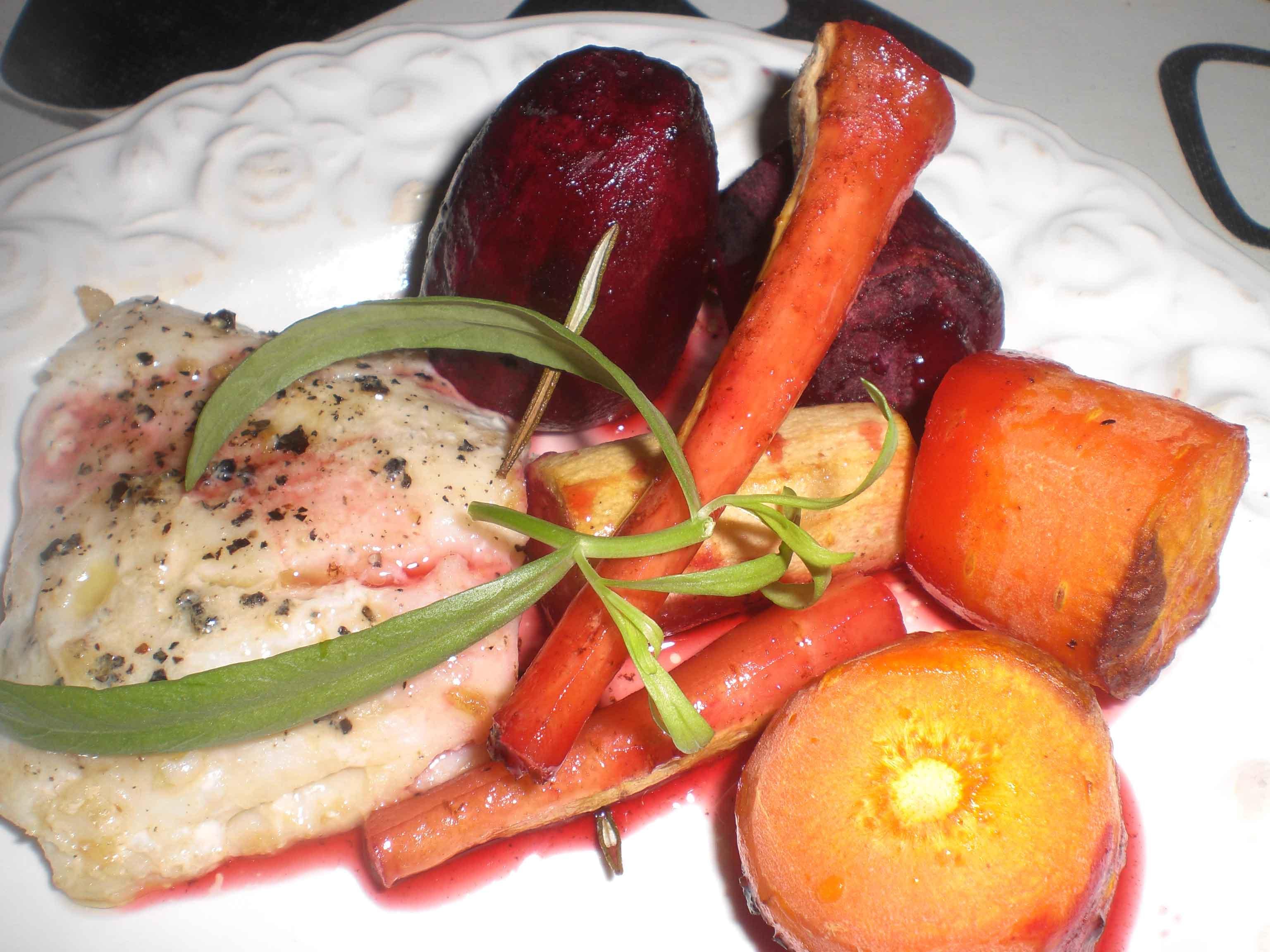 Stegt kulmule med bagte rodfrugter i marinade