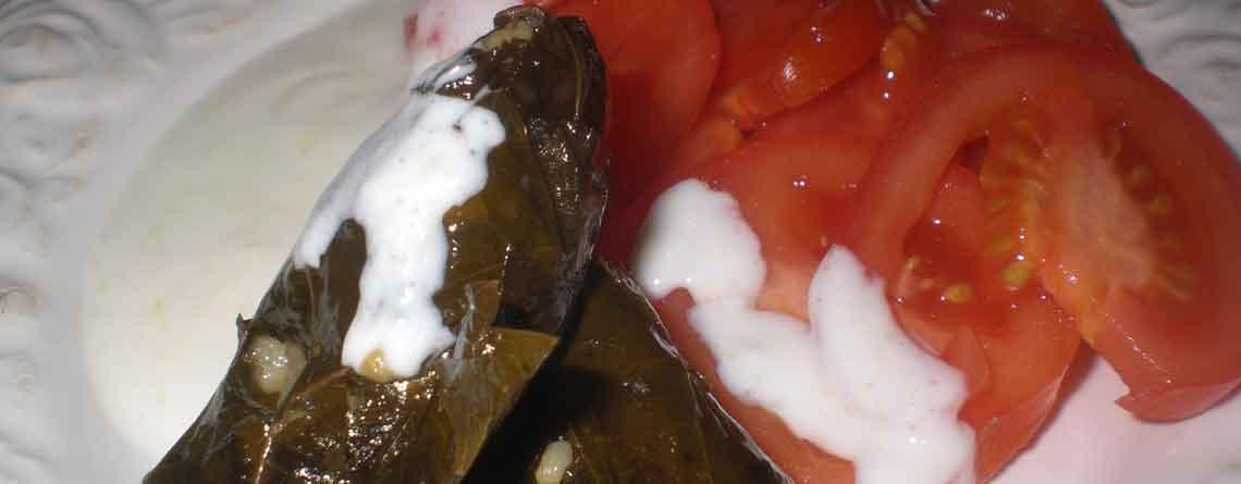 Fyldte vinbladsdolmere med tomater og hvidløgsdressing