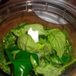 Blend ingredienserne til pestoen sammen med olien.