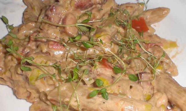 Pastapenne med grøntsager og flødeost