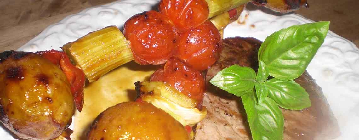 Grillspyd og grillet steak
